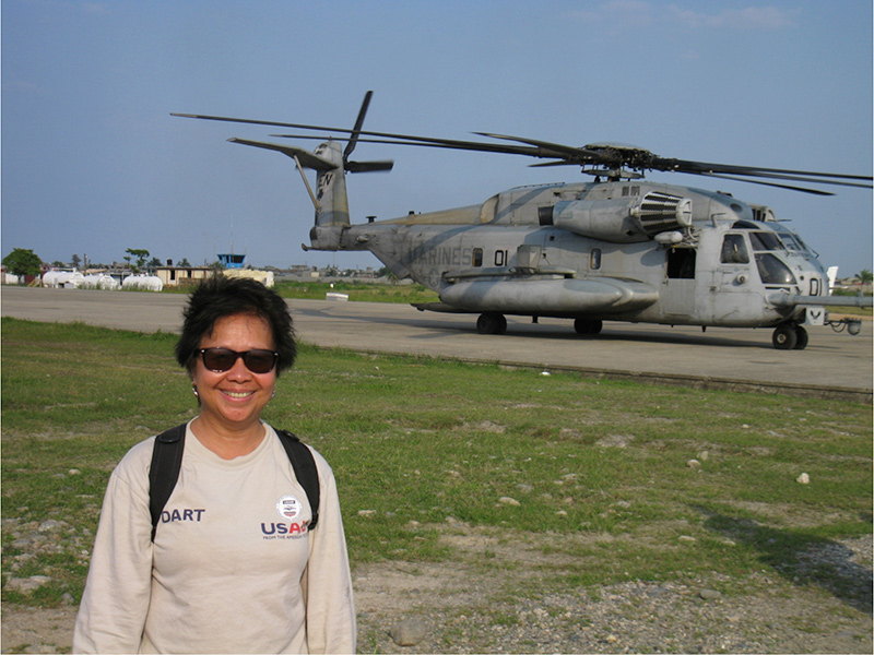 Rogers waits to board a helicopter in Cap-Haïtien in Haiti, in 2010