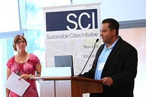 SCYP Program Manager Megan Banks listens to Assistant Professor Gerardo Sandoval