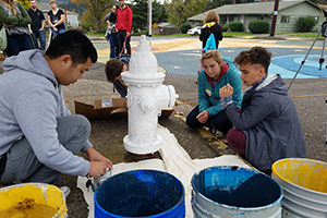 students prepare paints
