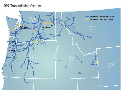 BPA's transmission system. Graphic courtesy BPA.