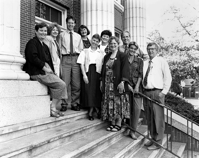 Pictured on the steps of Johnson Hall are the initial 1993 faculty members, advisers, and instructors for the Arts and Administration Program