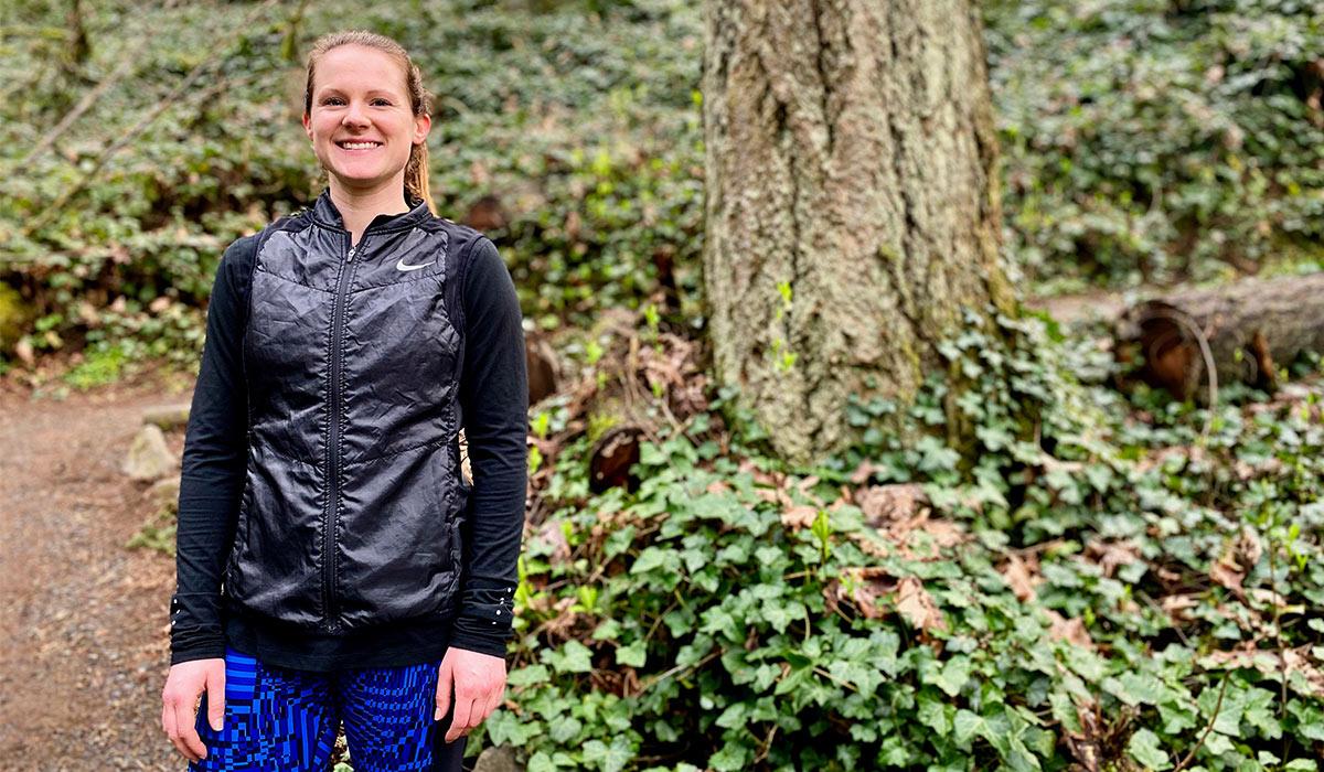 Portrait of alumna Megan Patrignelli in a forest