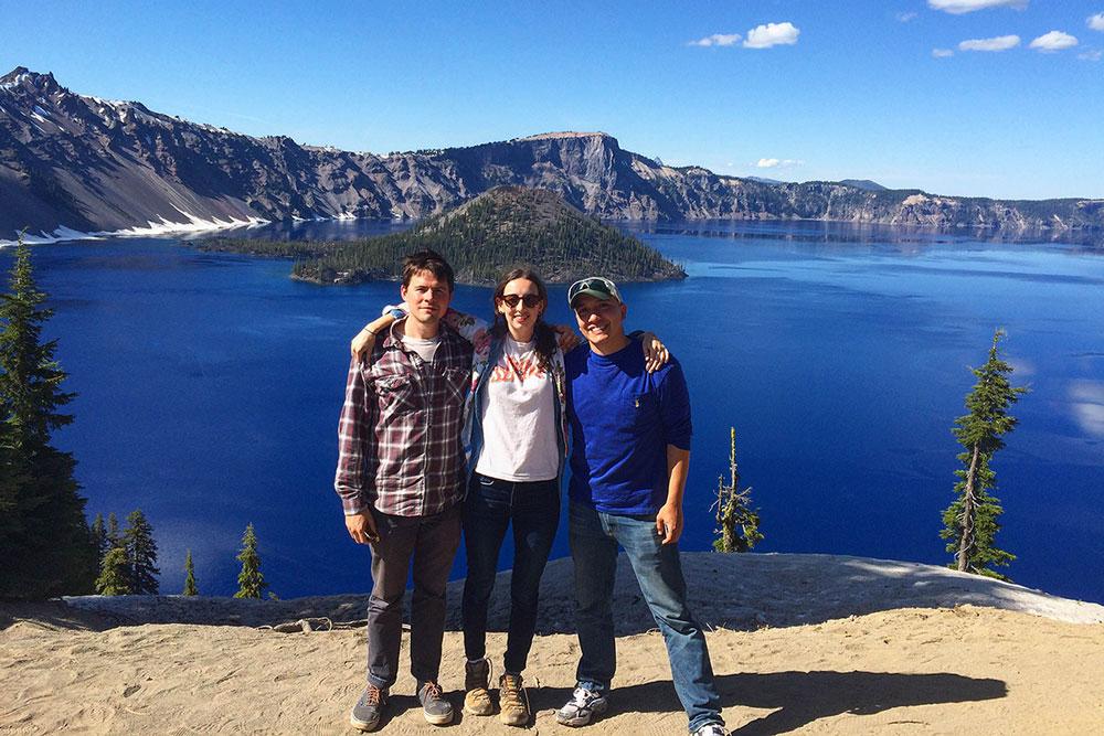 Charles Estes, Sophie Patterson, and Ivan Hernandez at Crater Lake