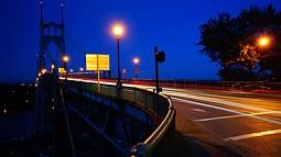 St John's Bridge in Portland at night