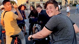 A group of students on bikes in Europe