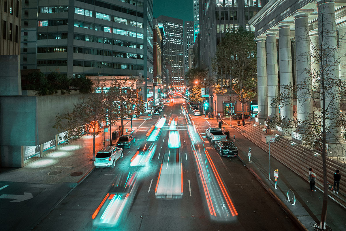Photo of city traffic at night