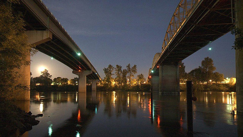 two bridges at night